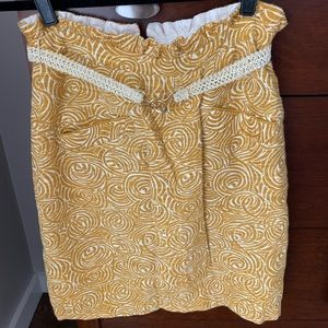 Anthropologie Yellow Belted Skirt